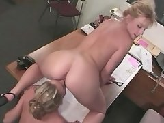Lesbo secretary licks out... porn video